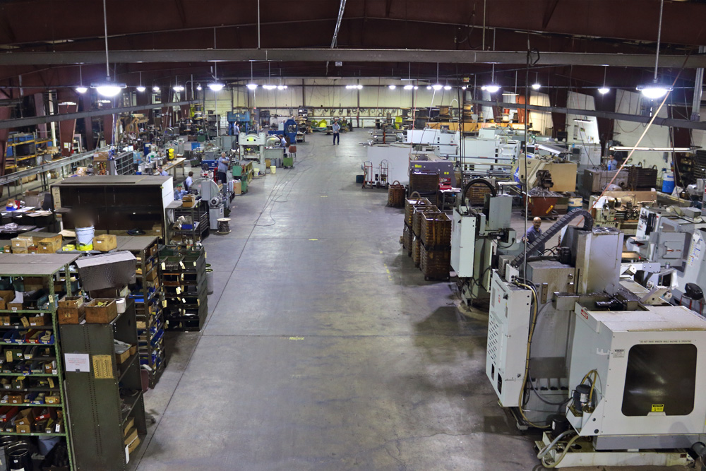 East shop main aisle between machining and assembly areas
